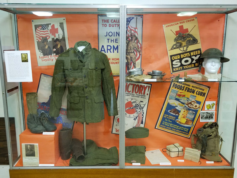 Photograph of For Home & Country: Austin Seminary during World War I exhibit case, Stitt Library, 2018